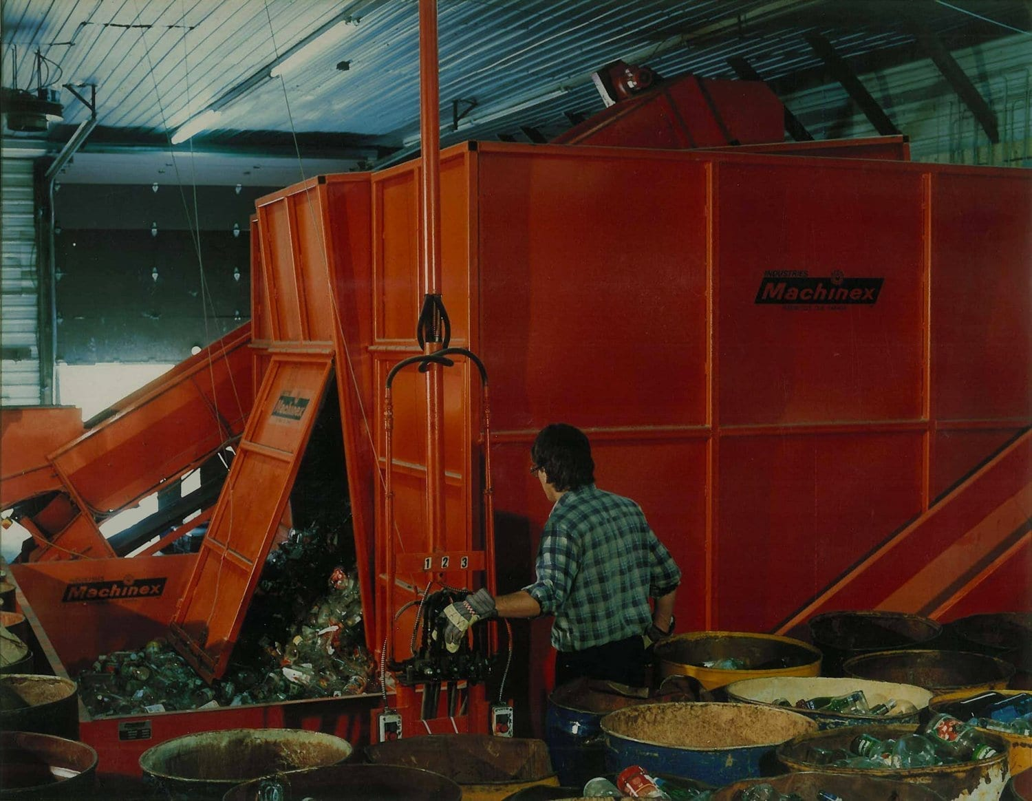 Machinex's first recycling sorting center, Victoriaville, QC, 1985.