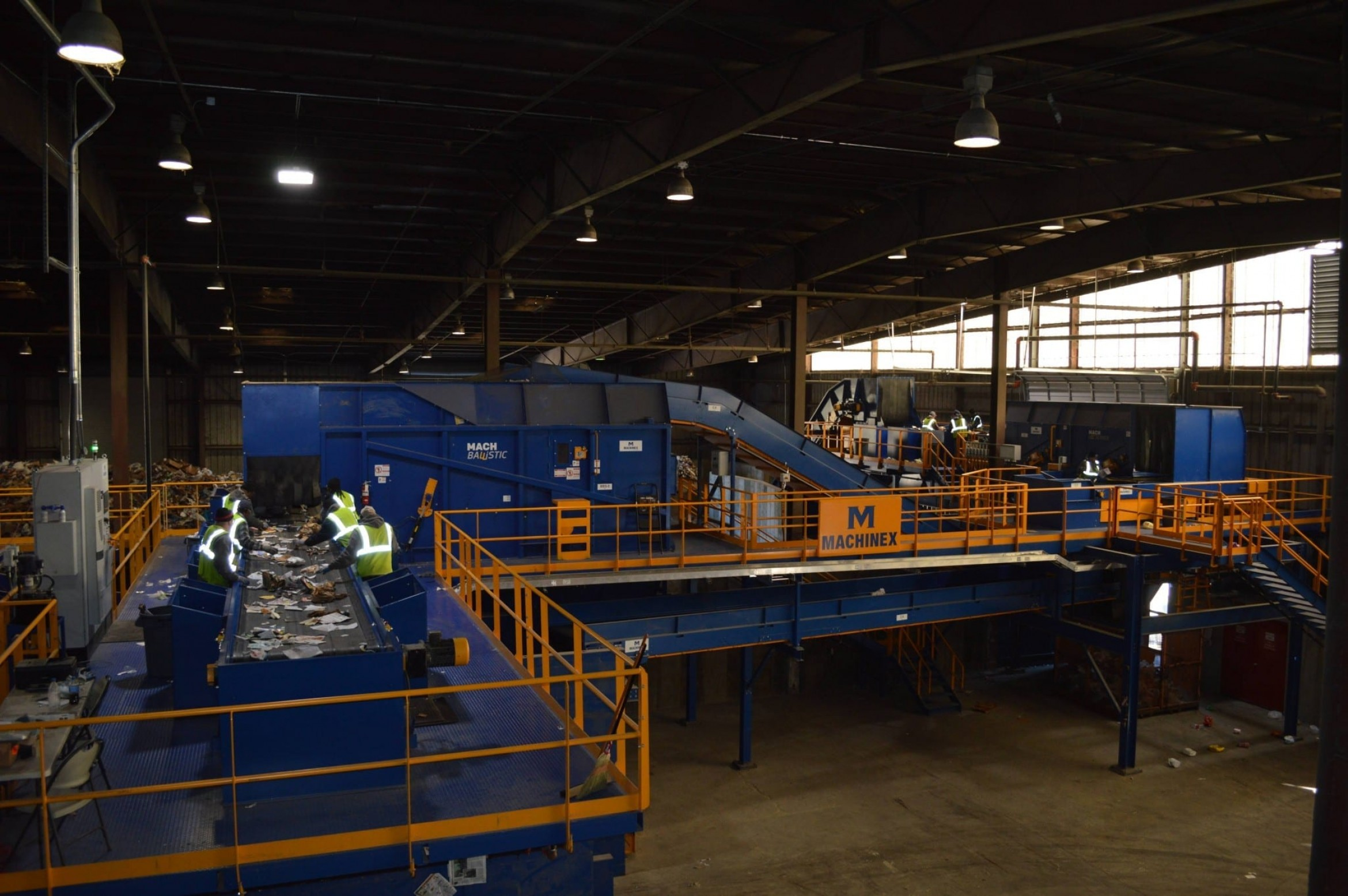 Wide view of Machinex sorting equipment in a factory